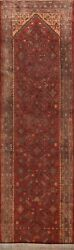 Antique Wool Geometric Traditional Runner Rug Hand-knotted Oriental Carpet 4x14