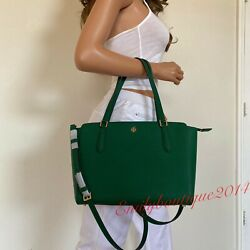 NWT TORY BURCH EMERSON SMALL TOP ZIP EMERALD STONE GREEN LEATHER TOTE BAG $209.00