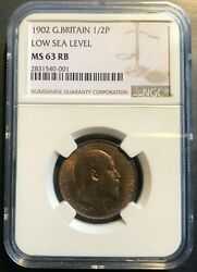 1902 Great Britain Half-penny Ngc Ms-63 Rb Low Sea Level Scarce Variety