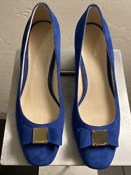 Cole Haan Grand Os Blue Suede Pumps With Gold Logo And Bow Us Sz 8.5 B Nwob