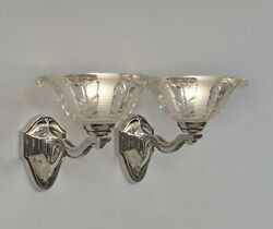 A.richard And Ezan A Pair Of French 1930 Art Deco Wall Sconces ...... Ejg France