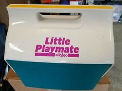 Vintage 90s Igloo Little Playmate Teal Yellow Pink White Cooler $34.99