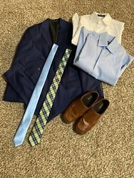 Boys Blue Suit Used Coat And Pants W/ 2 Dress Shirts, 2 Ties And Dress Shoes
