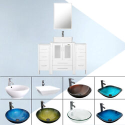 48 White Bathroom Vanity Cabinet And Glass Ceramic Vessel Sink W/ Faucet Drain