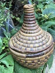Antique Native African Coiled Willow Wicker Basket