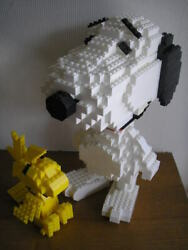 Vintage Lego Snoopy And Woodstock Block Doll Height 31cm Rare O