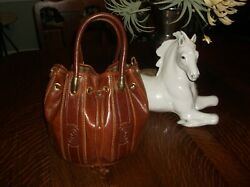 Vintage Marino Orlandi Tote Drawstring Bucket Bag Cognac Leather Italy $50.00