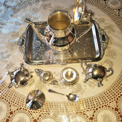 Vintage Silver Plated Tea Or Coffee Service And Includes Viners Tray.