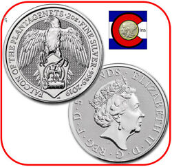 2019 Queenand039s Beast Falcon Of Plantagenets 2 Oz Silver Coin In Direct Fit Capsule