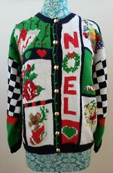 The Eagleand039s Eye Vintage Christmas Knit Sweater Womenand039s L Noel Cat Floral 1991