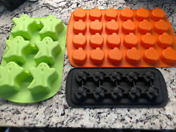 Halloween Wilton Silicone Jello Candy Molds Pumpkins Bats Ghosts