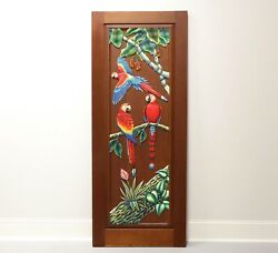 Hand Carved And Painted Honduras Mahogany Door / Panel - Red Parrots