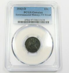 1843-o Pcgs Vf Detail Seated Liberty Dime 10c Us Coin 25859b