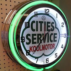 18 Cities Service Koolmotor Gasoline Gas Station Sign Double Neon Clock