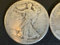 Four Low Grade, Early/partial Date, Walking Liberty Half Dollars 1918-1928