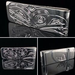 Northwest Coast First Nations Jewellery- Sterling Silver Orca And Raven Money Clip
