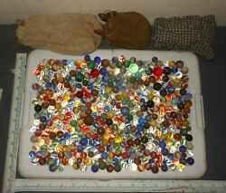 Vintage And Antique Assorted Marbles And Shooters Glass Clay Steel