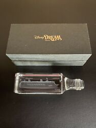 Disney Cruise Line Dream Inaugural Etched Crystal Paperweight Ship In Bottle Nib