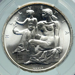 1948 Switzerland Constitution Woman Child Silver 5 Franc Swiss Coin Pcgs I86648