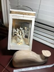 Beach Decor, Wooden Whale Approx 10 Inlighted Lantern, Approx 10.5 Inches Tall.