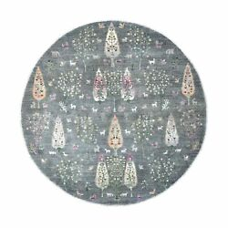 8and0392x8and0392 Round Folk Art Willow And Cypress Tree Design Hand Knotted Rug G55704