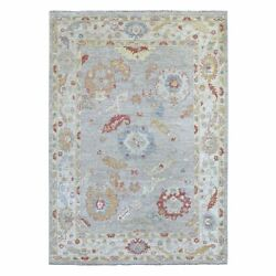 6and0393x8and0399 Hand Knotted Gray With Soft Colors Angora Oushak Pure Wool Rug G56185