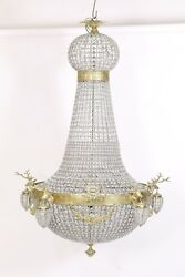 Lighting Crystal Brass Chandelier With Deers 175 Cm Gold Mb78