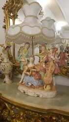 Porcelain Italy Baroque Style Figurine Lamps Pair S60