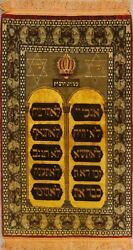 Historical 10 Moses Commandments Wool Silk Area Rug Hand-knotted 4x7 Gold Carpet