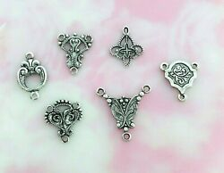 Antique Silver 6 Pieces Delicate Filigree Connector Stamping Finding E
