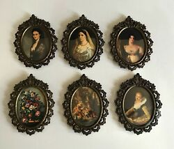 Nice Small Mini Vintage 4x5 Victorian Wall Hanging Picture Room Decor Lot Of 6