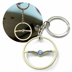 1964-65 Vw Beetle Beige Dished Steering Wheel Key Chain - Sun And Moon Button Oval