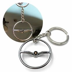 1964-65 Vw Beetle Chrome Dished Steering Wheel Key Chain - Fits Porsche Button
