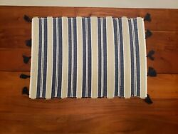 Set Of 6 Nwt Pier 1 Imports Natural Woven Bamboo Blue Place Mats With Fringes
