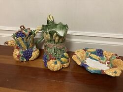 Fitz And Floyd Harvest Home - Pitcher, Teapot, Serving Bowl, S And P Shakers [1995]