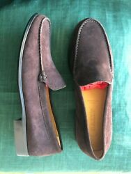 Women Bally Shoes Flats Euro Size 37.5 Brown Suede New Made In Switzerland