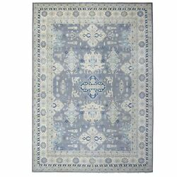 9and0399x13and0397 Gray Vintage Look Kazak Pure Wool Hand Knotted Oriental Rug G55976