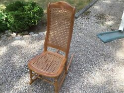 Early Amer Antique Walnut Ladiessewingrocking Chaircane Seat/backdamaged