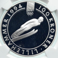 1992 Norway Olympics Lillehammer Speed Skating Ice Silver 100 Kr Coin Ngc I86656
