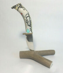 Ted Miller Cherokee Indian Knife Fixed Blade Carved Handle Stand Turquoise +