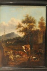 Antique Old Master Austria Ca 1750 Landscape With Grazing Animals Oil On Wood