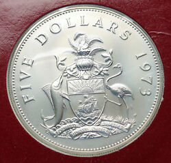 1973 Bahamas Pirate Defeat Motto Old Specimen Proof Silver 5 Dollars Coin I85841