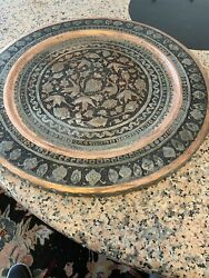 Vintage Antique Persian Heavily Etched Tin / Copper Scalloped Tray High Quality