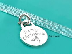 And Co Sterling Silver Merry Christmas Round Circle Spring Ring Charm 201f