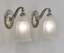 Hettier And Vincent Pair Of French 1930 Art Deco Wall Sconces 1 .. Lamp France