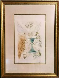 Salvador Dali 1904-1989signed Color Etching With Gold Dust On Arches Paper