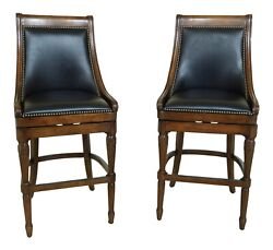 Lf50231ec Pair Frontgate Revolving Seat High Counter Barchairs