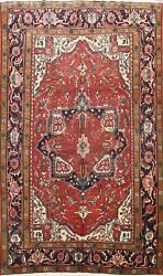 Excellent Semi Antique Heriz Geometric Area Rug Vegetable Dye Hand-knotted 8x11