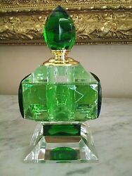 Giant Perfume Bottle Green And Clear Hand Cut Crystal Ciel Vintage Style New
