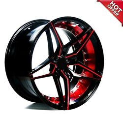 20 Staggered Ac Wheels Ac01 Gloss Black Red Inner Extreme Concave Rims S75